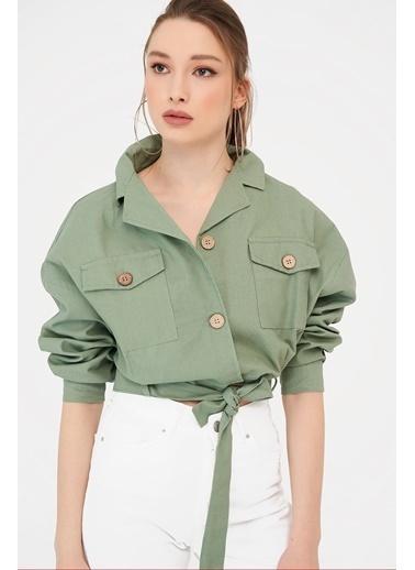 ESQ Kemerli Gabardin Ceket Yeşil